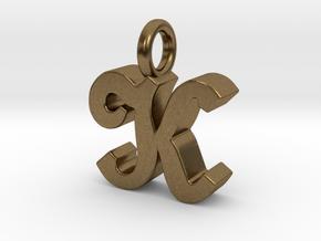 K - Pendant - 3 mm thk. in Natural Bronze