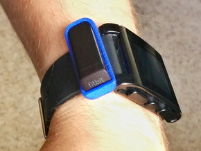 Watchband Holder for Fitbit Flex - Pebble Version in Blue Processed Versatile Plastic
