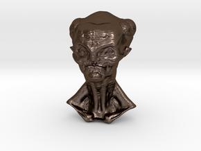 Granny Alien Bust  in Polished Bronze Steel