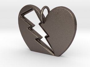 Lightening in your Heart pendant in Polished Bronzed Silver Steel