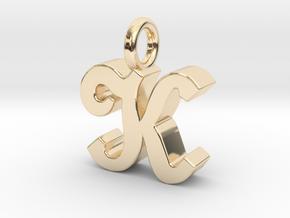 K - Pendant - 3 mm thk. in 14k Gold Plated Brass