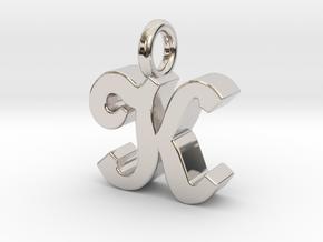 K - Pendant - 3 mm thk. in Rhodium Plated Brass