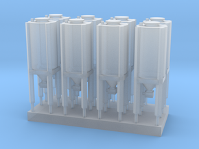 Silo T Scale 1:450 8 pcs set  in Smooth Fine Detail Plastic