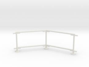 6' Chain-link Barrier Fence   45 deg Corner (HO) in White Strong & Flexible: 1:87 - HO