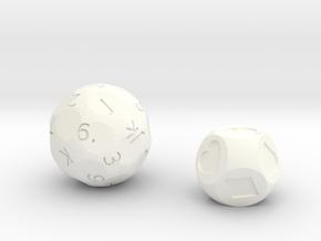 d27 & d8 Card Dice set (joker edition) in White Processed Versatile Plastic