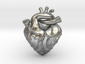 Anatomical Love Heart Cufflink SINGLE in Natural Silver