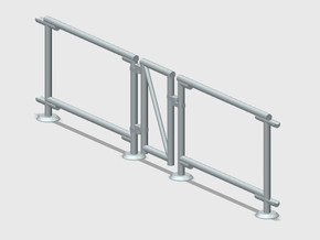 6' Chain-link Man Gate Frame in White Natural Versatile Plastic: 1:87 - HO