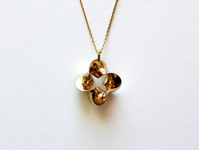 Pendant_Four Twisted Mobius in Polished Brass