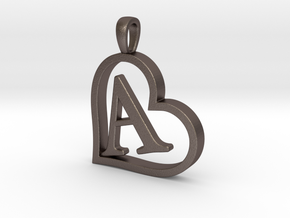 Alpha Heart 'A' Series 1 in Polished Bronzed Silver Steel