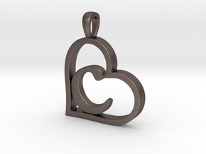 Alpha Heart 'C' Series 1 in Polished Bronzed Silver Steel