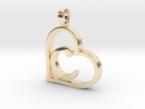Alpha Heart 'C' Series 1 in 14k Gold Plated Brass