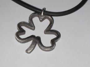 Shamrock Pendant in Polished Bronzed Silver Steel