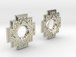 Inca Cross Earrings in 14k White Gold: Small