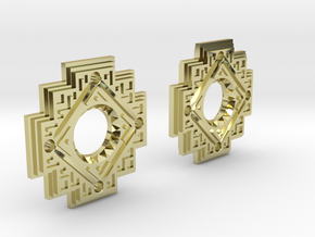 Inca Cross Earrings in 18k Gold Plated Brass: Small