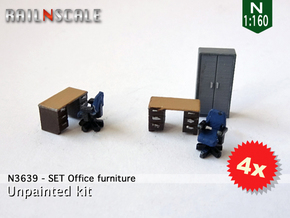 SET Office furniture (N 1:160) in Smooth Fine Detail Plastic