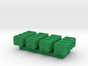 1/87 Scale Heavy Equipment Case x4 in Green Processed Versatile Plastic