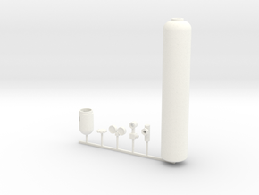 1/10 scale OXYGEN BOTTLE KIT in White Processed Versatile Plastic