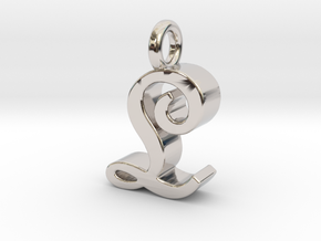 L - Pendant - 3 mm thk. in Rhodium Plated Brass