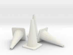 1/24 Traffic Cones X4 in White Natural Versatile Plastic