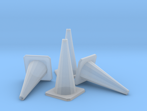 1/24 Traffic Cones X4 in Smooth Fine Detail Plastic