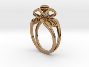 3-2 Enneper Curve Twin Ring (002) in Polished Brass