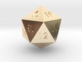 D20 Blue Mana Symbol (MTG) in 14K Yellow Gold: Extra Small
