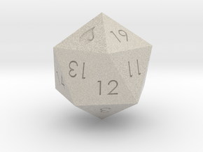 D20 Blue Mana Symbol (MTG) in Natural Sandstone: Extra Small