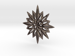 Snowflake Necklace  in Polished Bronzed Silver Steel