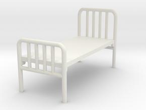 1:72 Hospital Bed in White Natural Versatile Plastic