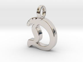 D - Pendant - 2mm thk. in Rhodium Plated Brass