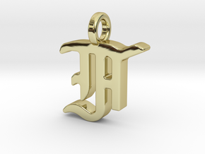 F - Pendant - 2mm thk. in 18k Gold Plated Brass