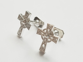 Celtic Cross Cufflinks in Raw Silver
