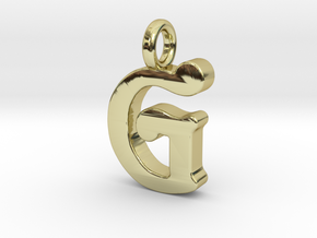 G - Pendant - 2mm thk. in 18k Gold Plated Brass