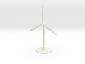 A Spinning Wind Turbine in White Natural Versatile Plastic
