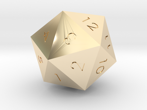 D20 Red Mana Symbol (MTG) in 14k Gold Plated Brass: Extra Small