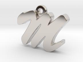 M - Pendant - 2mm thk. in Rhodium Plated Brass