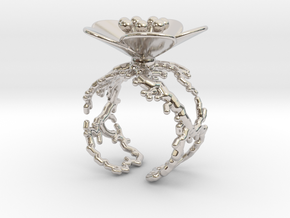 Flower ring (US sizes 10 – 13) in Rhodium Plated Brass: 10 / 61.5