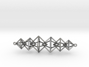 Interlocking Octahedron Necklace in Polished Silver (Interlocking Parts)