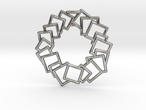 Squares Wreath Pendant in Polished Silver