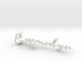 3dWordFlip: Emmalyn/Rose in White Natural Versatile Plastic