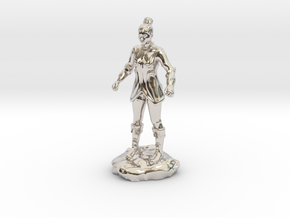 Female Human Fighter with Elven influenced armor. in Rhodium Plated Brass