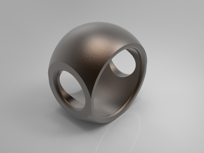 RING SPHERE 1 - SIZE 6 in Polished Bronze Steel