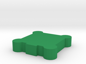 Game Piece, Square Walls, Round Towers in Green Processed Versatile Plastic