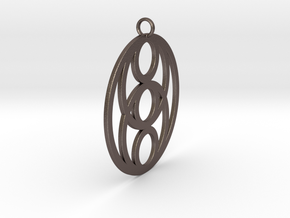 Pendant 6 Circles Ø ~ 43mm / 1.7 inches in Polished Bronzed Silver Steel