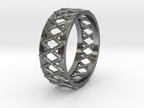 Knitted Ring-15 mm in Polished Silver