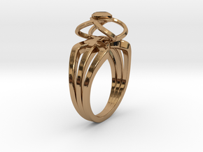 3-2 Enneper Curve Triple Ring (001) in Polished Brass
