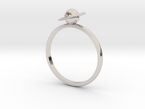 Planet Saturn Ring  in Rhodium Plated Brass