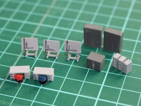 N Scale Engineers Office Furniture in Smooth Fine Detail Plastic