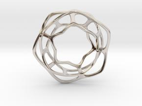 Hex Möbius, 48mm in Rhodium Plated Brass