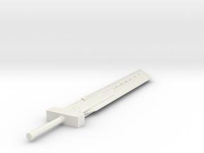 Miniature Seven Fusion Sword - Final Fantasy 7 in White Natural Versatile Plastic: 1:12